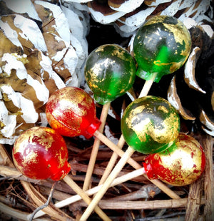 Red & Green Christmas Crackled 24K gold Lollipops By I Want Candy