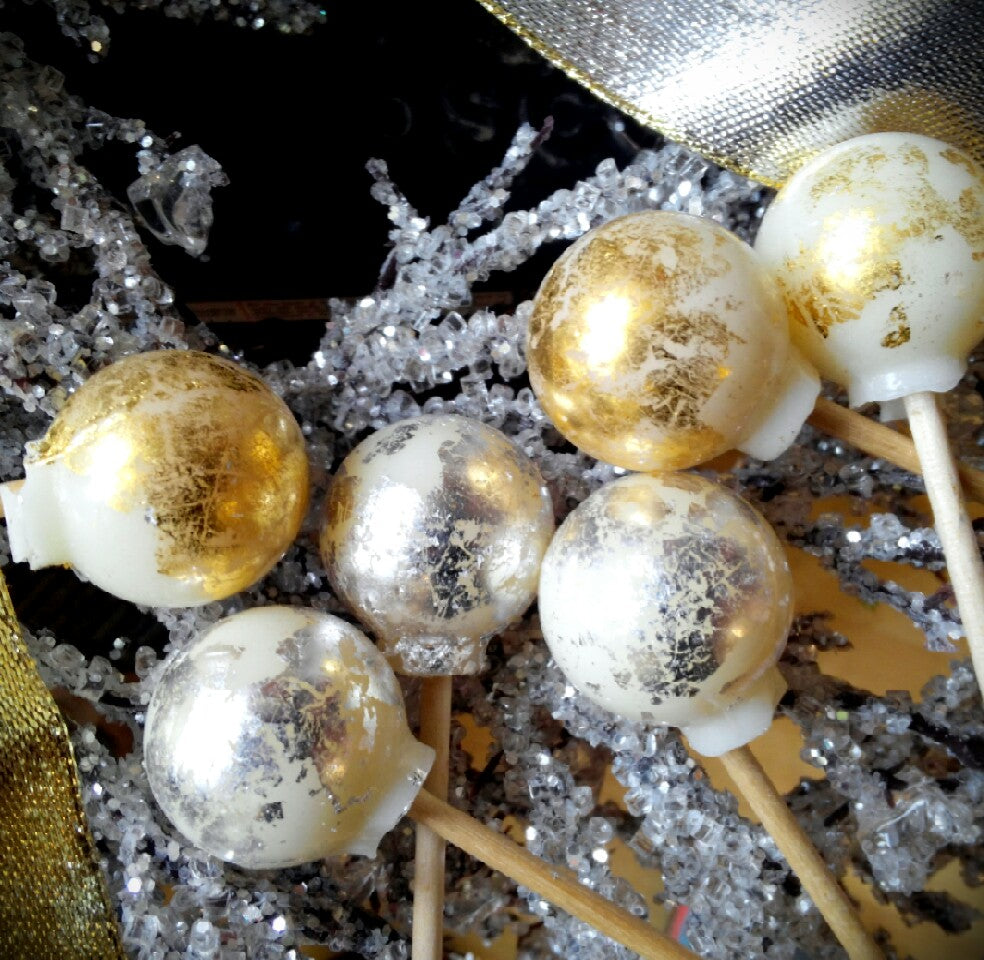 Silver & Gold Holiday Ball Lollipops By I Want Candy