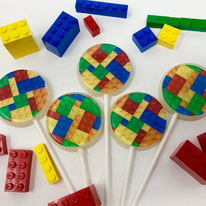 Building blocks Lego inspired lollipops by I Want Candy!