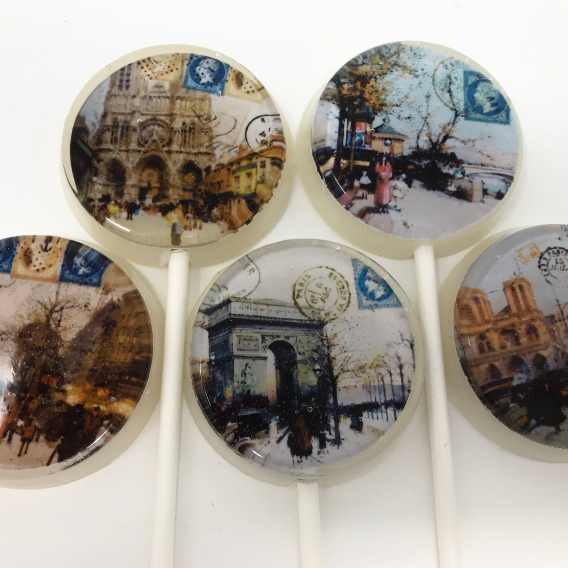 With love from Paris flat style lollipops by I Want Candy!