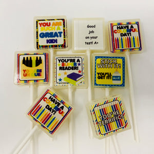 Lunchbox notes square edible image lollipops by I Want Candy!