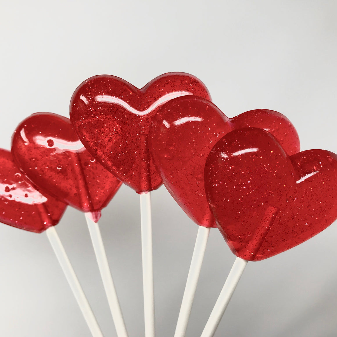 Red Glitter Heart lollipops (6 pc) by I Want Candy!