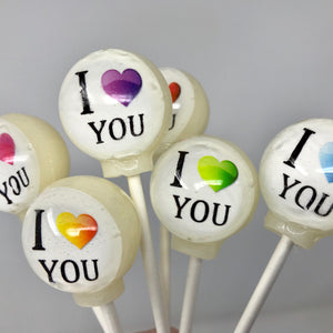 I heart you lollipops by I Want Candy!