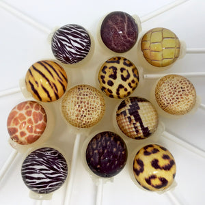 Sweet safari edible image animal print lollipops by I Want Candy!
