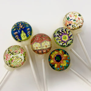 Asian influence pattern edible image lollipops By I Want Candy!