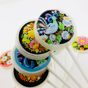 Russian style ornaments edible image lollipops by I Want Candy!