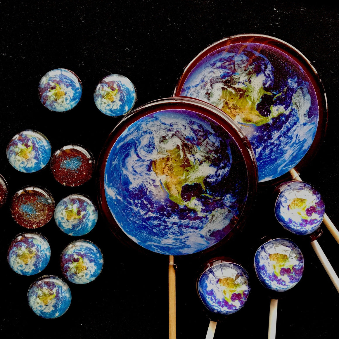 "Mega Flat Style 3.5"" Planet Lollipops 4pc Set"