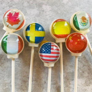 Flags of the Earth edible image lollipops
