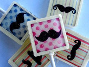 Mustache collage square style edible image lollipops