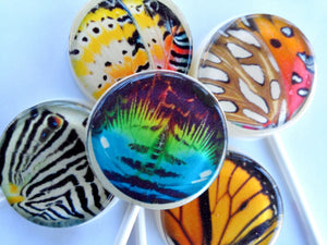 Butterfly wings flat style edible image lollipops by I Want Candy!