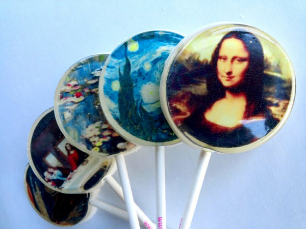 Famous paintings flat style edible image lollipops by Vintage Confections