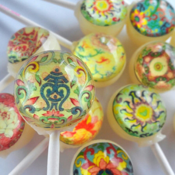 Asian influence pattern edible image lollipops by Vintage Confections