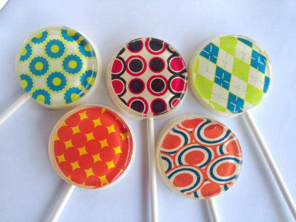 Retro fashion chevron and patterned lollipops by Vintage Confections