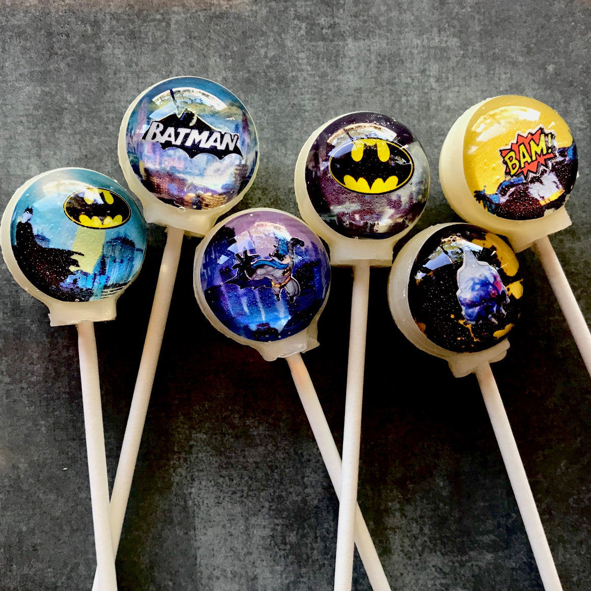 3D Batman super hero lollipops by I Want Candy!
