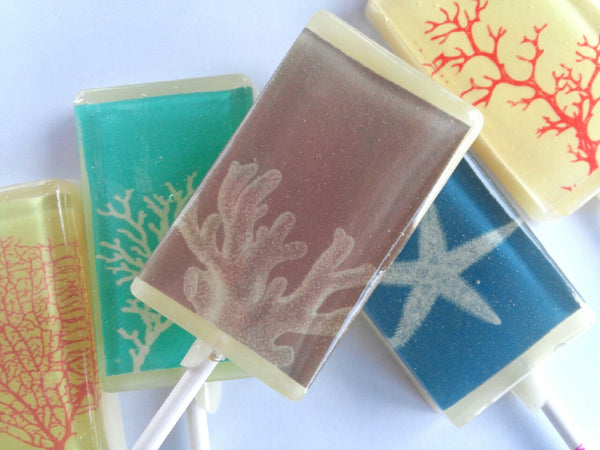 Ocean coral rectangle edible image lollipops by Vintage Confections
