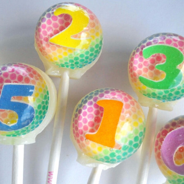 Rainbow numbers 3D edible image lollipops by Vintage Confections