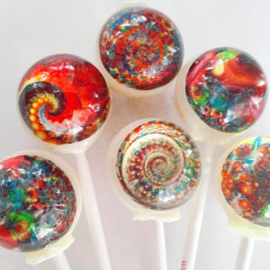 Colorful fractals edible image lollipops by I Want Candy!