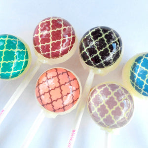 Moroccan pattern edible image lollipops