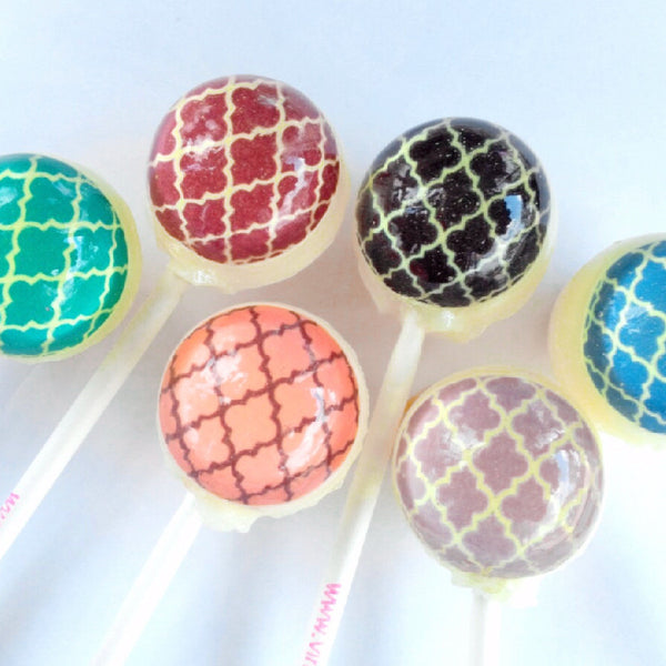 Moroccan pattern edible image lollipops by Vintage Confections