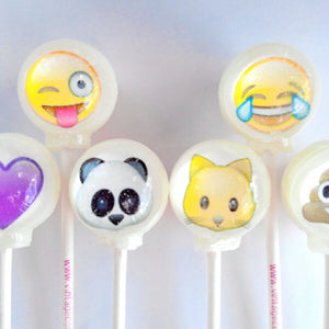 Emoji edible image lollipops by I Want Candy!