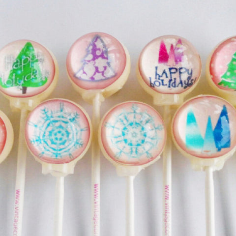 10 piece happy holidays gift set lollipops by Vintage Confections