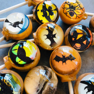 Halloween scenes edible art lollipops by I Want Candy!