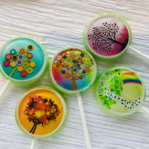 Whimsical trees flat style edible image lollipops by I Want Candy!