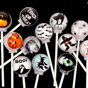 Trick or Treat edible image lollipops by I Want Candy!