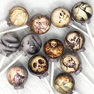 Haunted Skeleton edible image lollipops by I Want Candy!