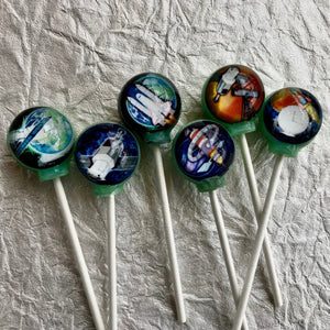 Cosmic Space Crafts! edible image lollipop by I Want Candy!