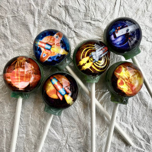 Cosmic Mission Space! edible image lollipop by I Want Candy!
