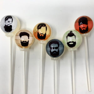 Beard UP! edible image lollipops by I Want Candy!