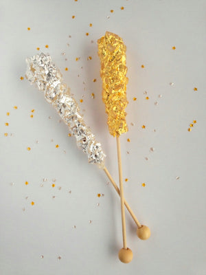 REAL gold and silver rock candy sticks by I Want Candy! (2pc)