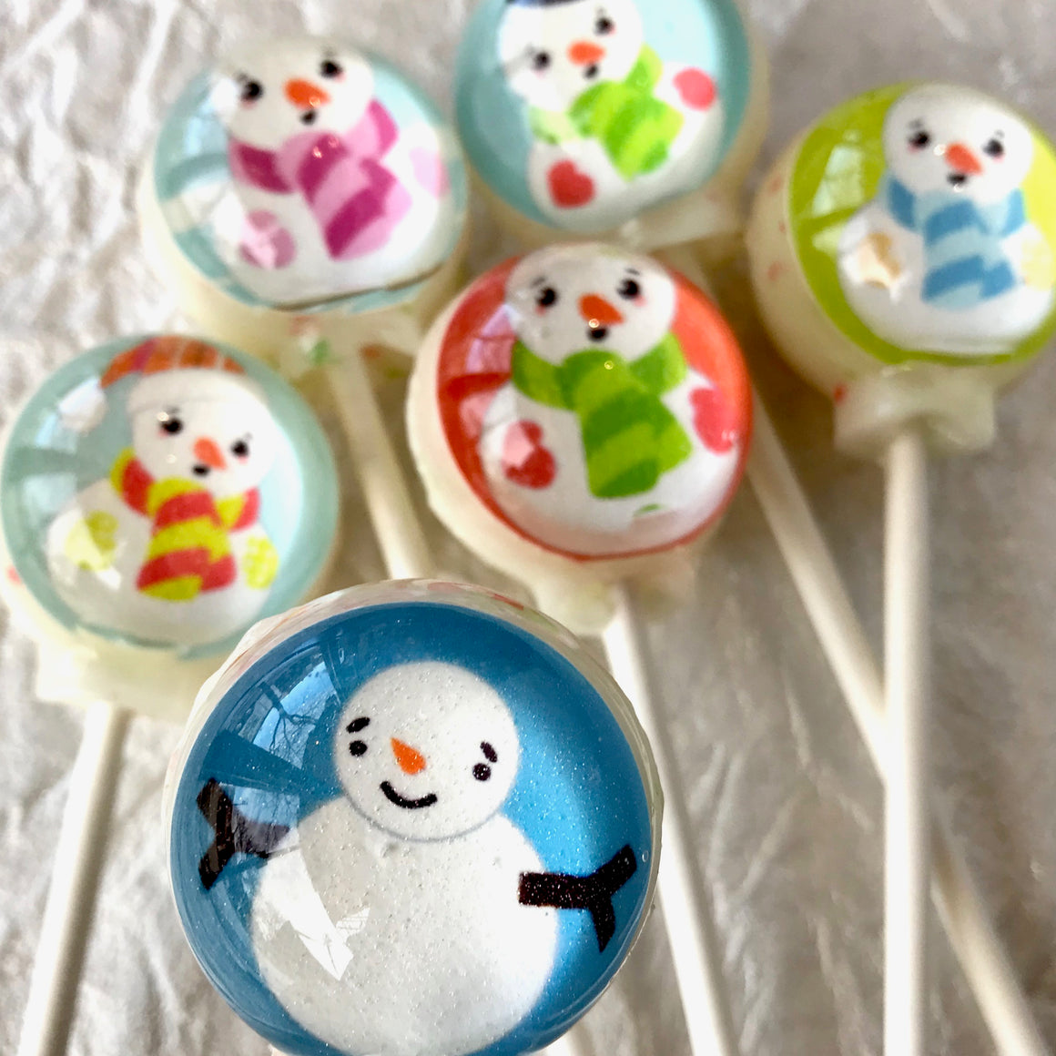 Colorful Snowman Lollipops, By I Want Candy!