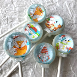 Winter Snow Globe Lollipops, By I Want Candy
