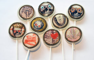 Skull bones flat style edible image lollipops by I Want Candy!