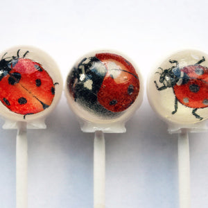Lucky lady bugs edible image lollipops