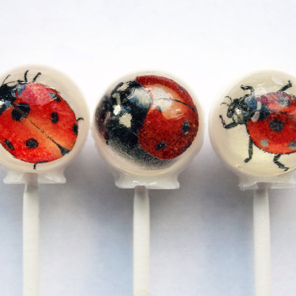 Lucky lady bugs edible image lollipops by Vintage Confections