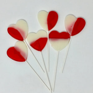 Strawberries n' Cream Heart Shaped Lollipops