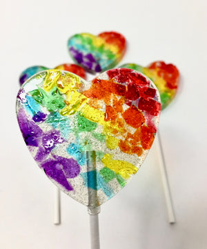 4pc Stained Glass Heart Shaped Lollipops