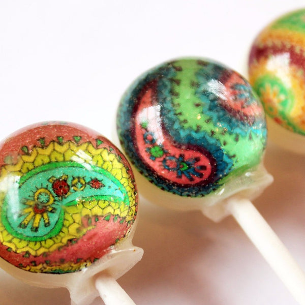 Paisley pattern edible image lollipops by Vintage Confections