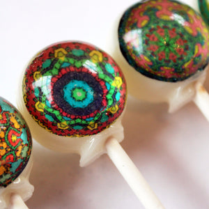 Kaleidoscope pattern edible image lollipops