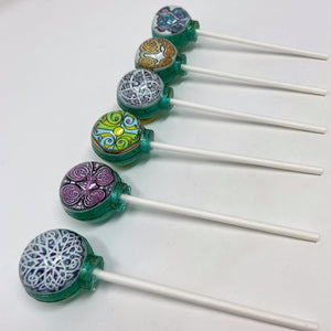 6pc Assorted Celtic knot edible image lollipops by I Want Candy!