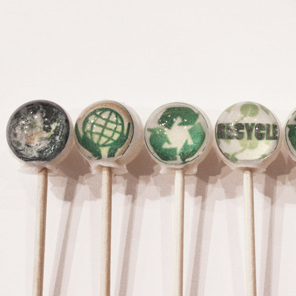 Earth Day edible art lollipops by Vintage Confections