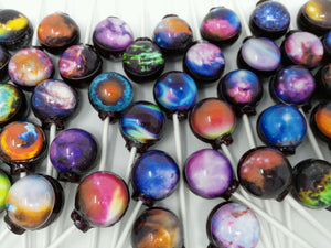 Nebula 10pc set edible image lollipops by I Want Candy!