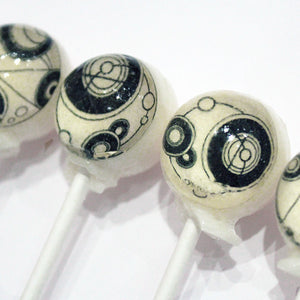 Circular Gallifreyan hard candy lollipops by I Want Candy!