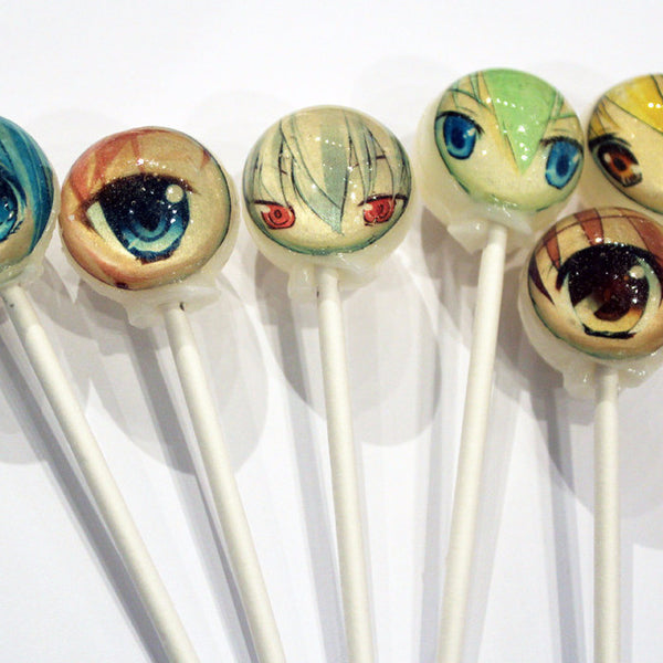 Anime eyes edible image lollipops by Vintage Confections