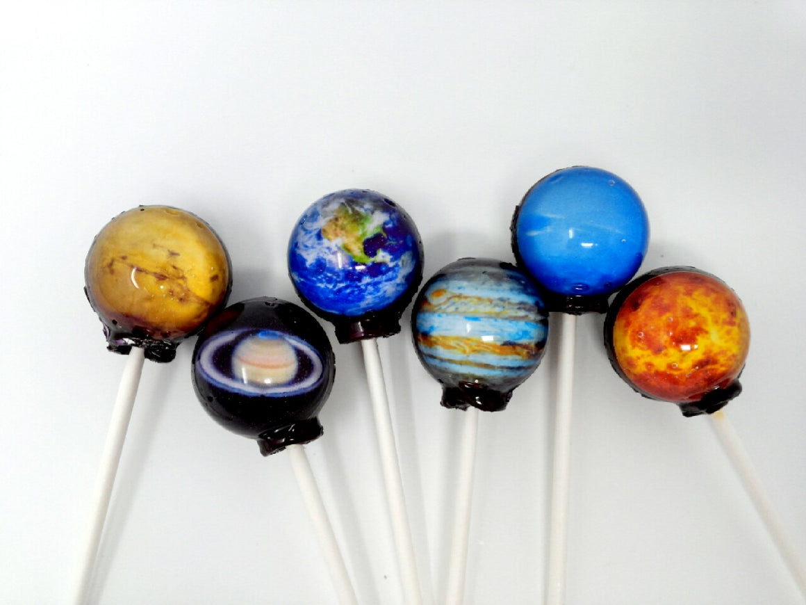 6pc Planet Lollipops