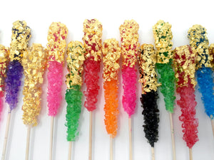 REAL 24K gold or silver Half Wrap rock candy sticks by I Want Candy! (2pc)