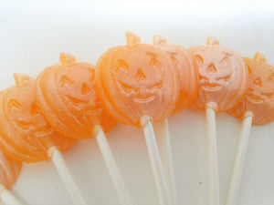 Mini Jack-o-lantern pumpkin shaped Halloween lollipops by I Want Candy! (12pc)